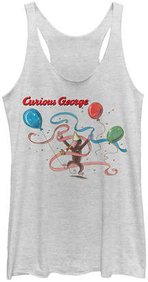 Fifth Sun Curious George Birthday Balloon and Streamers Portrait Tri-Blend Racer Back Tank