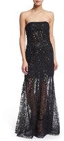 Sue Wong Strapless 3D Lace Illusion Skirt Gown