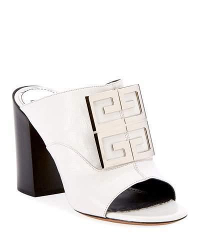 Givenchy Leather 4G Logo 90mm Slide Sandals - Silvertone Hardware