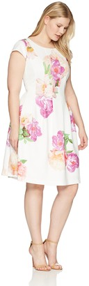 Calvin Klein Women's Plus Size Cap Sleeved Floral Fit and Flare Dress