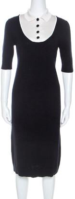 Louis Vuitton Midnight Cashmere Blue Contrast Collar Dress S