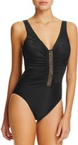 Miraclesuit Solid Jewel Box Beaded Ruched One Piece Swimsuit