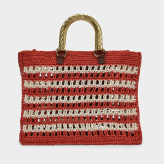 MEHRY MU Lucia Bag In Red And Cream Raffia