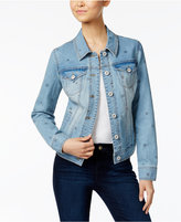 Style&Co. Style & Co Star-Print Denim Jacket, Created for Macy's