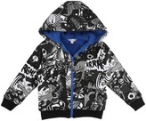 Little Marc Jacobs Fur-Lined Zip-Up Super Heroes Hooded Sweatshirt