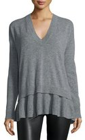 Autumn Cashmere Cashmere V-Neck Sweater w/ Layered Ruffled Hem