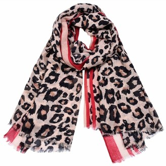 Kangqifen Women's Leopard Print Scarf Shawl Wrap 71 x 39 inches(Red)