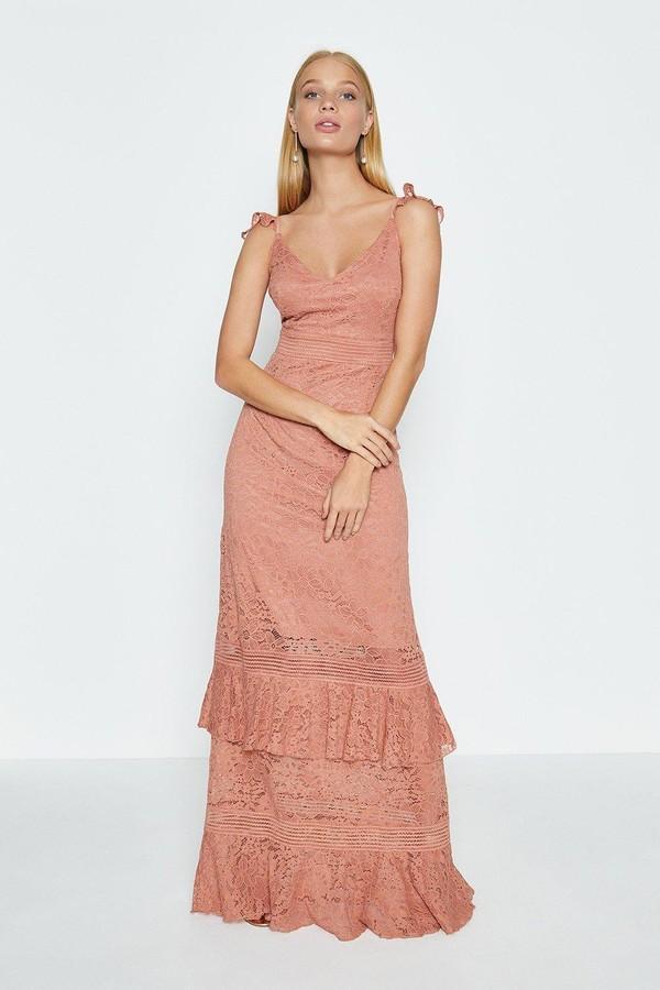 Coast Floral Lace Frill Maxi Dress