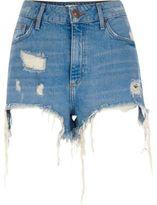 River Island Womens Blue ripped high waisted denim shorts