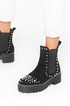 Nasty Gal Womens Devil's in the Detail Embellished Faux Suede Boots - Silver