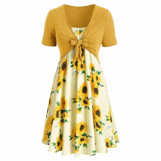 VECDY Women's Dress Charming Short Sleeve Dress with Bow Knot Bandage Top Chic Sunflower Print Beach Mini Dress Suits UK 8~16 Size(14