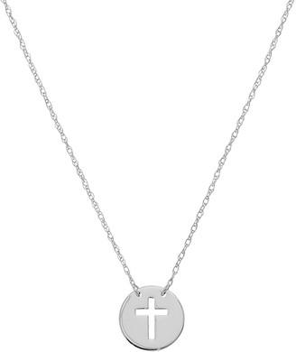 Saks Fifth Avenue 14K White Gold Cross Cutout Mini Disc Necklace