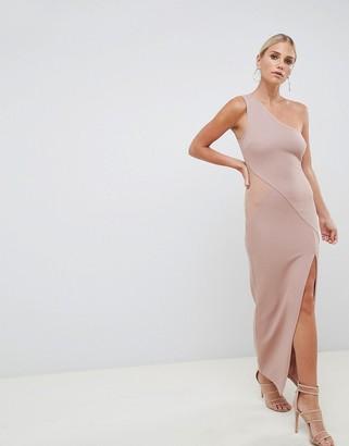 Asos Design DESIGN one shoulder minimal rib mesh maxi dress-Pink