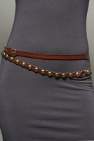 Studded Double Wrap Belt in Mahogany