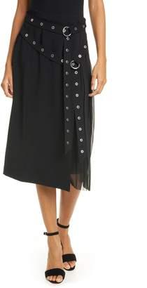 Cinq à Sept Tess Grommet Double Belt Crepe Midi Skirt