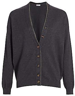 Brunello Cucinelli Women's Monili-Trim V-Neck Wool & Cashmere-Blend Cardigan
