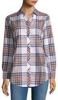 Foxcroft Asymmetrical Plaid Shirt