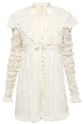 Zimmermann Pussy-bow Lace-trimmed Silk-satin Jacquard Playsuit