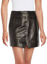 Rachel Zoe Leather and Silk Button Front Mini Skirt