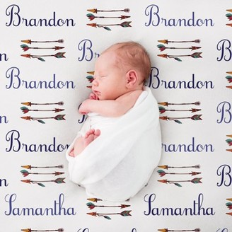 MonogramOnline Custom Bows and Arrows Blue Baby Blanket