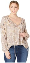 Bobeau B Collection By B Collection by Plus Size Rumi Tie Neck Blouse (Pale Yellow Print) Women's Blouse