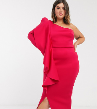 True Violet Plus one shoulder midi dess with frill detail in deep fuchsia