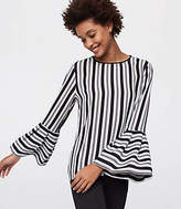 LOFT Petite Striped Bell Sleeve Blouse