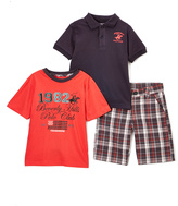 Beverly Hills Polo Club Red & Navy Plaid Polo Tee & Shorts - Toddler & Boys