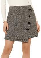 Karen Millen Tweed Faux-Wrap Mini Skirt