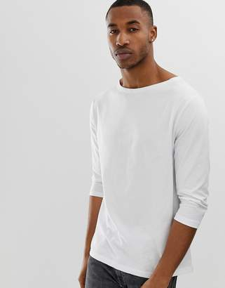 Asos Design DESIGN relaxed 3/4 sleeve t-shirt with boat neck in white