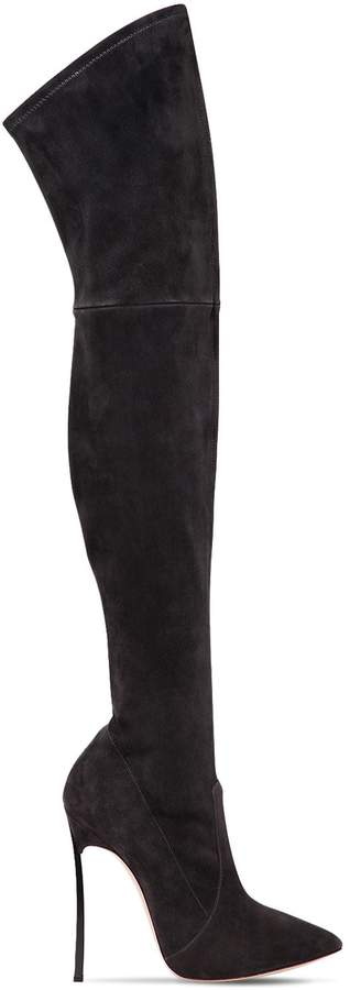 Casadei 120mm Blade Suede Over The Knee Boots