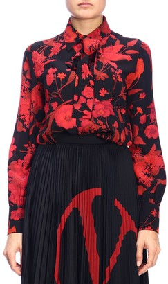 Valentino Silk Shirt With Floral Pattern