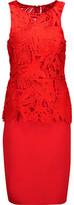 Sachin + Babi Viola Layered Giupure Lace And Stretch-Knit Peplum Dress