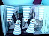 Martha Stewart Lighthouse Shower Curtain Hooks Light Blue White Stripe