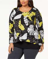 Alfani Plus Size Printed Layered-Look Top, Created for Macy's
