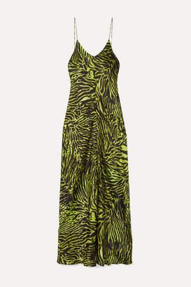Ganni Tiger-print Stretch-silk Satin Maxi Dress - Green