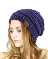 NYFASHION101 Exclusive Unisex Two Tone Warm Cable Knit Thick Beanie Cap
