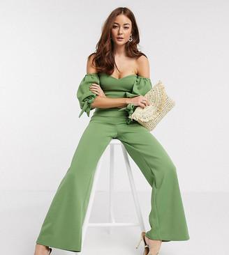 True Violet exclusive balloon sleeve bardot jumpsuit in green