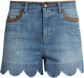 RED Valentino Scallop-edged high-rise denim shorts