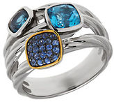 Lord & Taylor Multi-Color Topaz, Sterling Silver and 14K Yellow Gold Ring