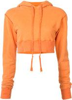 Greg Lauren cropped drawstring hoodie