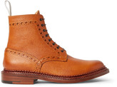 Grenson + Neighborhood Charles Burnished Pebble-Grain Leather Brogue Boots