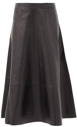Co High-rise Leather Midi Skirt - Black