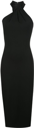 Cushnie Fitted Pleated Halterneck Dress