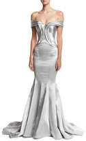 Zac Posen Off-the-Shoulder Metallic Mermaid Gown