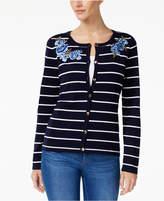 Karen Scott Petite Striped Floral-Trim Cardigan, Created for Macy's