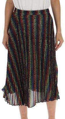 MICHAEL Michael Kors All Over Logo Rainbow Pleated Midi Skirt