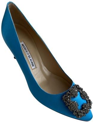 Manolo Blahnik Hangisi Turquoise Cloth Heels