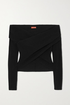 Altuzarra Virginia Off-the-shoulder Wrap-effect Wool And Cashmere-blend Sweater - Black