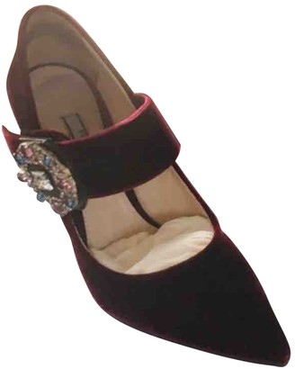 Prada Burgundy Velvet Heels